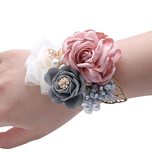 Pearl Corsage Faux - Tugao Wedding Wrist Corsage Party Prom Hand Flower Decor with Faux Pearl Bead Wristband Gold Leaf for Bridal Bridesmaids (Pink 1)
