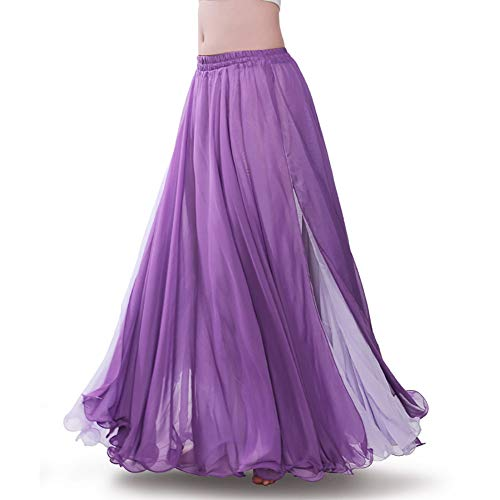 ROYAL SMEELA Purple Chiffon Fairy Belly Dance Skirt for Women Tribal Belly Dancing Skirts High Split, One Size, 10 Colors