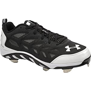 Under Armour Mens Spine Low Metal Cleats 12 US, Black/White