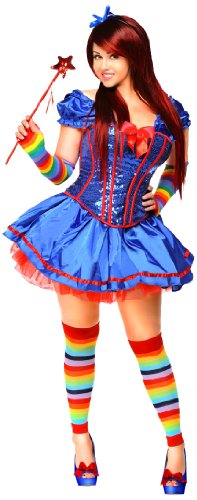 Rainbow Girl Sexy Costumes (Daisy Corsets Women's 6 Piece Sexy Rainbow Girl Costume, Blue, Large)