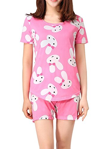 VENTELAN Women Sleepwear Cute Rabbit Pajama Sets Soft Short Sleeve Loungewear