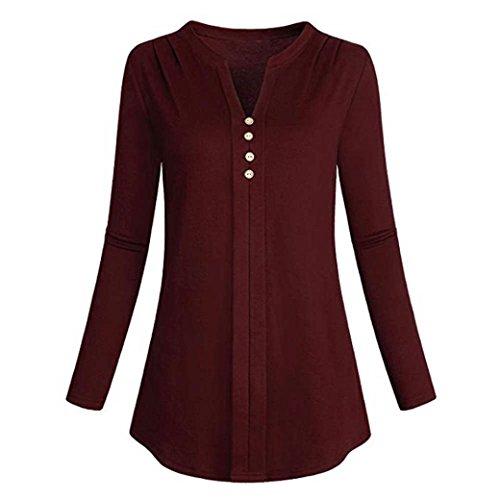 col Dessus T V Shirt Rouge Femme Laches en Malloom Chemise Longues Manches xRIzqZ