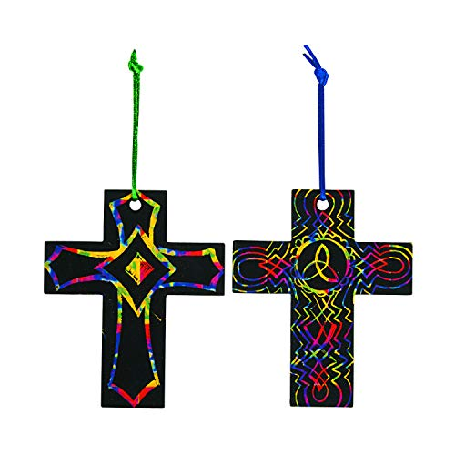 Magic Color Scratch Cross Ornaments (Makes 24) - Religious Crafts & Art & Craft Supplies -