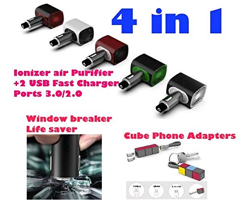 Portable Car Ionic Air Purifier Ionizer 3in1, Dual USB Quick Charger 3.0 Car Emergency Window Breaker Life Saver. Freshener, Eliminates Odor Smell, Smoke, Pets Cube Data Phones Adapter Black Red