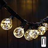 G40 Dimmable Globe String Lights Remote, 30LED Bulbs 32.8ft Indoor/Outdoor String Lights Linkable Waterproof Patio Party Wedding Gazebo Backyard Bedroom Decor (Warm White with Remote Control)