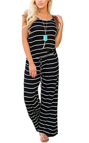 ECOWISH Womens Jumpsuits Summer Floral Printed Spaghetti Strap Sleeveless Casual Jumpsuit Rompers 0916 Black XL ()