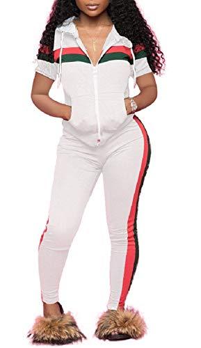 (LAJIOJIO Women Fashion Zip Hoodie Sweatshirt & Sweatpants Plus Size Tracksuits Jogging Suit White XX-Large)
