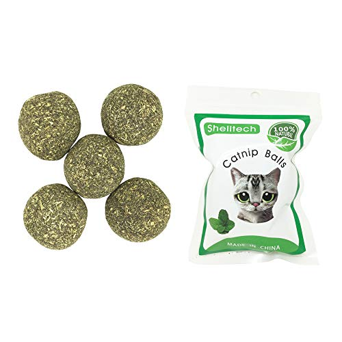 (Catnip Toys Ball for Cats by Shelltech, Compressed Catnip Toy Balls Edible Cat Treats Playing Relaxing Catnip Toys 1.3 Inch Diameter 5 Pack)