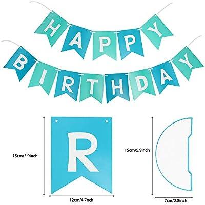 PushingBest decoración cumpleaños, 6 pañuelo de Papel, Pompones 30PCS Globos de látex (10 Piezas x Azul / Verde / Blanco).