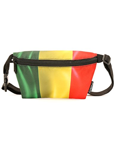 FYDELITY- Ultra-Slim Fanny Pack: FLAGS Rasta | Travel, National, World Cup, ()