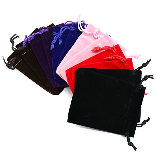 Pack of 12 Mix Color Soft Velvet Pouches w Drawstrings for Jewelry Gift Packaging By IDS,7&9CM