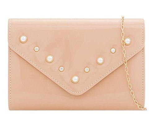 Ladies New Faux Patent Leather Pearl Decoration Evening Prom Clutch Bag Nude
