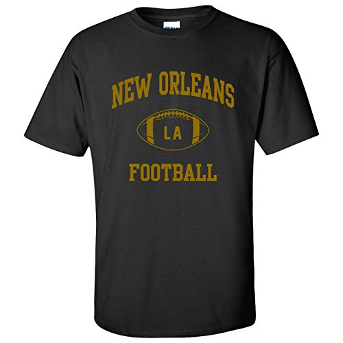 New Orleans Classic Football Arch Basic Cotton T-Shirt - X-Large - Black