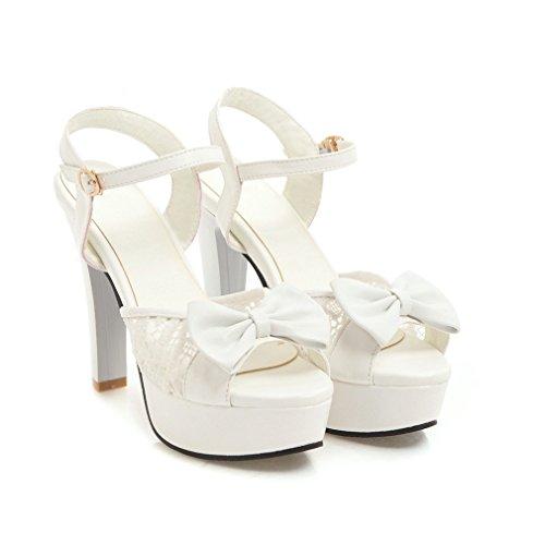 YE Damen Peep Toe High Heels Sandalen Plateau Knöchelriemchen Pumps mit Schleife und Schnalle Sommer Schuhe Weiß