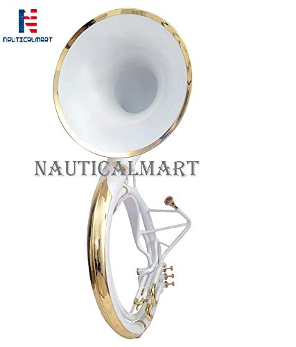Sousaphone Bb Big Bell 25'' White With Bag by NauticalMart (Image #1)