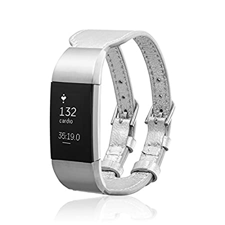 p17-H1-68-B-4 fitjewels Charge 2 Band Available in Black and Silver Available in Black and Silver Silver Clipper Leather Replacement Band