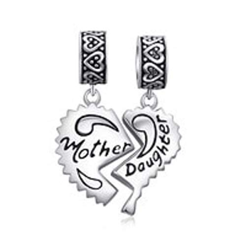 (EVESCITY Many Styles Silver Pendents 925 Sterling Beads Fits Pandora, Similar Charm Bracelets & Necklaces (Mother Daughter Split Heart))