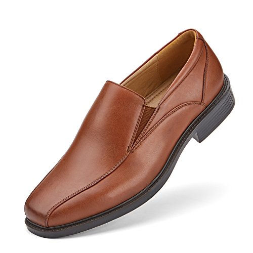 (SEMANS Men's Dress Shoes Slip On Stylish Bicycle Toe Leather Loafer Brown 9.5 D(M))