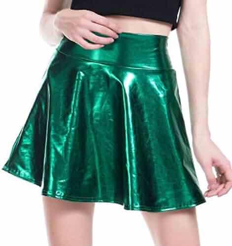 a14ae650742789 KLJR Women Swing Stylish PU Splice Nightclub Dance Ruched Short Skirt