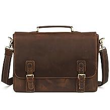 "Kattee Men's Cow Leather Messenger Bag Briefcase 16"" Laptop Bag"