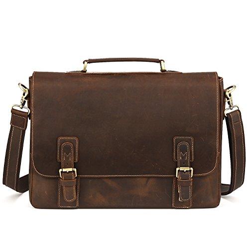 Kattee Men's Leather Satchel Briefcase, 16' Laptop Messenger Shoulder Bag Tote