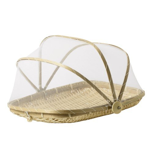 13 inch Covered Rectangular Bamboo Serving Food Tent Basket ()