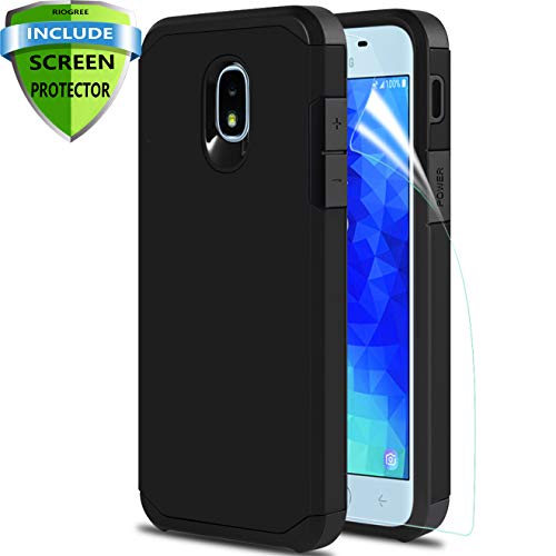 Phone Case for Samsung Galaxy J7 Refine/Galaxy J7 2018/J7 Star /J7 Aero/J7 V 2rd Gen/J7 Top/J7 Aura/J7 Crown/J7 Eon, with Screen Protector, Protective Armor Case Accessories (Carbon Black)