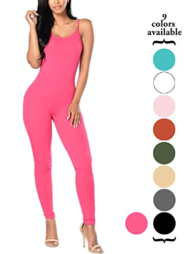 Amilia Womens Spaghetti Strap Bodycon Tank One Piece Jumpsuits Rompers Playsuit (L, Rosy)