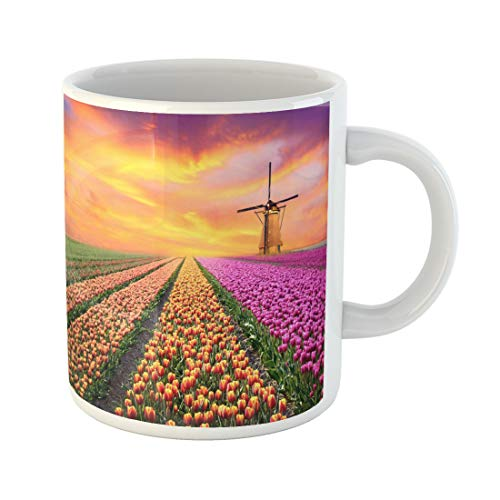 Semtomn Funny Coffee Mug Magical Landscape Sunrise Over Tulip Field in the Netherlands 11 Oz Ceramic Coffee Mugs Tea Cup Best Gift Or Souvenir ()