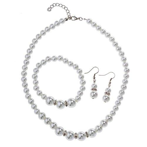 Femtindo Faux Pearl Crystal Choker Necklace Earring Bracelet Jewelry Set ()