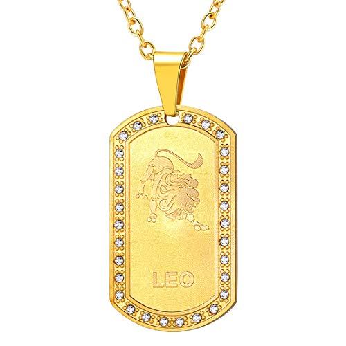 U7 Men Women 12 Zodiac Constellation Horoscope Jewelry 18K Gold Plated Cable Rolo Chain 22 Inch Rhinestone Inlaid Iced Out Birth Zodiacs Star Signs Dog Tags Necklace Pendant-Leo(7.23~8.22)