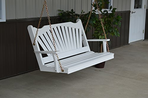 Classic Outdoor 4 Foot Fanback Porch Swing – PAINTED- Amish Made USA -Coffee