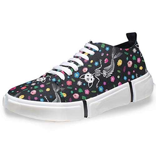 Men's Skate Shoes Mermaid Tail Cat Casual Shoes Canvas Low-top Sneaker Boys