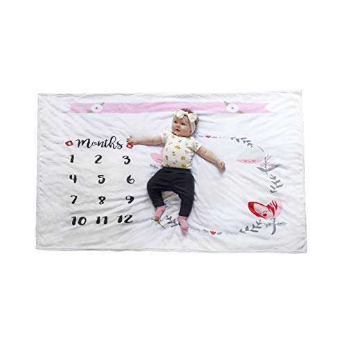 CUTE FACTORY Baby Monthly Milestone Blanket - Photo Prop for Pictures - Memory Maker and Keepsake for Boys & Girls - Soft & Breathable Fleece Throw - Perfect Gift for -