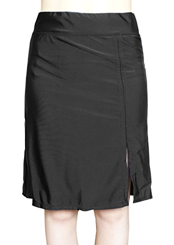 COCOSHIP Black Lady's Solid Skirted Cover Up Swim Modest Coveraged Skirt Open-Side Swimdress with Panty 14(FBA)