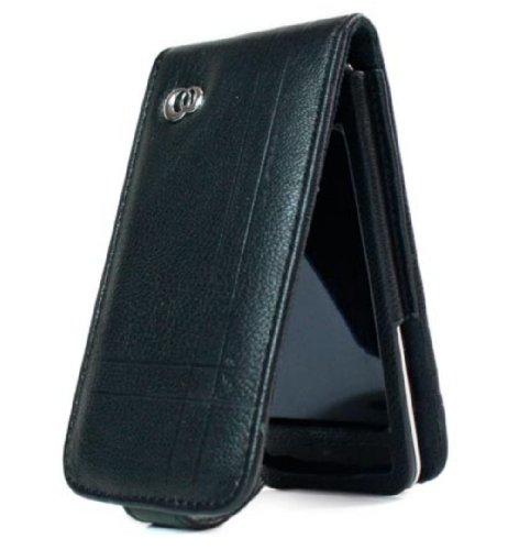 Kroo Melrose Case with Screen Protector for iPod touch 4G (Black Imitation Leather)