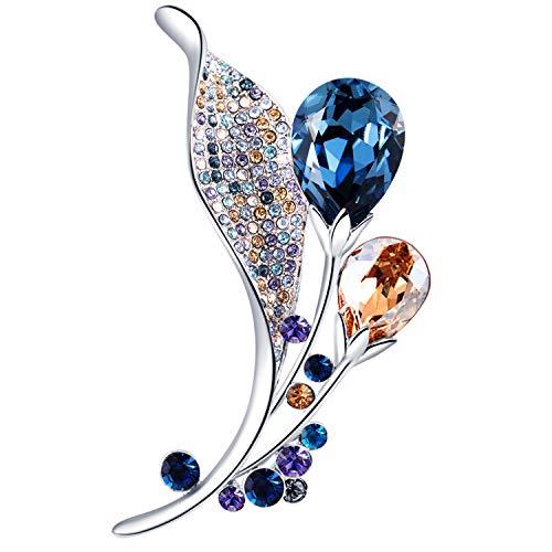 Drop Rhinestone Brooch - RAINBOW BOX Brooch Pins for Women, Tear Drop Crystals from Swarovski Jewelry, Rhinestone Brooches for Women Girlfriend Her Valentine Christmas Birthday Thanksgiving Gifts (Blue)