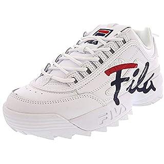 Fila Women's Disruptor Ii Script White/Fila Red/Fila Navy Ankle-High Leather Sneaker - 8.5M