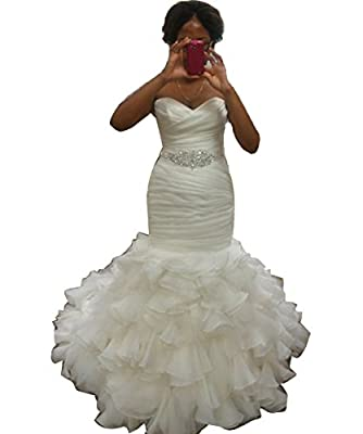 Vivibridal Women's Sweetheart Ruched Pleated Mermaid Lace Up Back Bridal Dresses