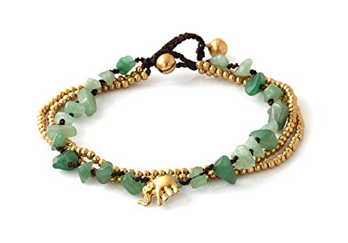 MGD, Green Aventurine Color Bead and Brass Bell Anklet. 3-strand Elephant Anklets Beautiful Handmade Brass Anklet. Small Anklets. Ankle Bracelet. Fash…