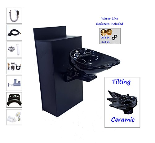 TILTING CERAMIC Shampoo Bowl Floor Cabinet w/ Storage TLC- B07-BC42 by Beauty Salon Shampoo Bowl