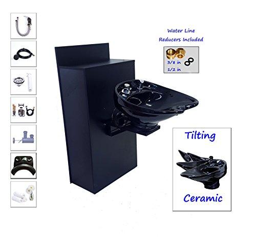 TILTING CERAMIC Shampoo Bowl Floor Cabinet w/ Storage TLC- B07-BC42