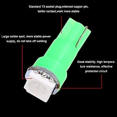cciyu 20X T5 Green Led 1-5050 SMD Dashboard Dash Gauge Instrument Panel Gauge Cluster Light: Automotive
