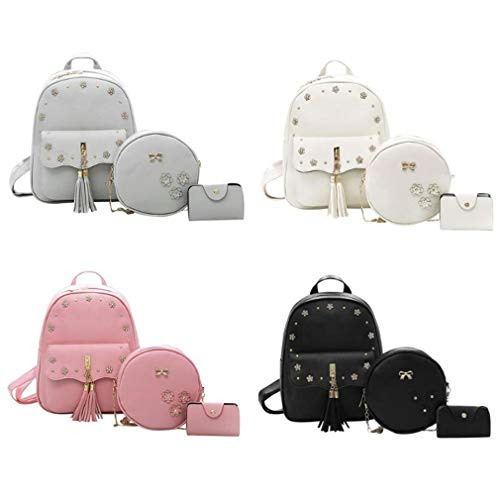 Pink Set Tassel 81 Shoulder PU 3Pcs School Pink 11 Leather Bag Inches UfPtw