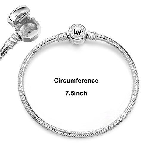 Long Way 925 Sterling Silver Snake Chain Bracelet Cubic Zirconia Basic Charm Bracelets for Women, 7.5inches by Long Way (Image #3)