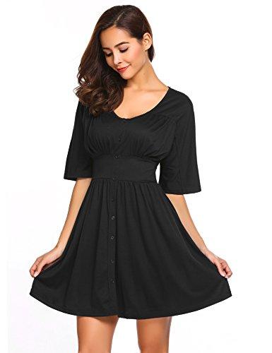 Zeagoo Women's Button Down V Neck Empire Waist Kimono Style Casual Pleated Short Dress Black - Waist Top Empire Sleeve Kimono