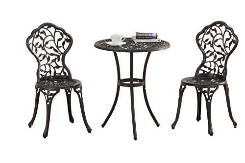 Sunjoy L-BS864SAL Best Choice Products Cast Aluminum Patio Furniture Set Bistro, Black
