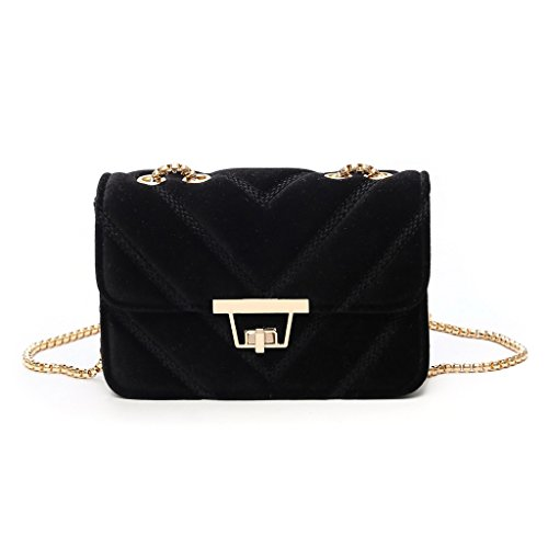 Pink Purse Women Shoulder Tote Bag Velvet Chain Luxury Handbag Crossbody Messenger Kofun Black fPzxwF6x