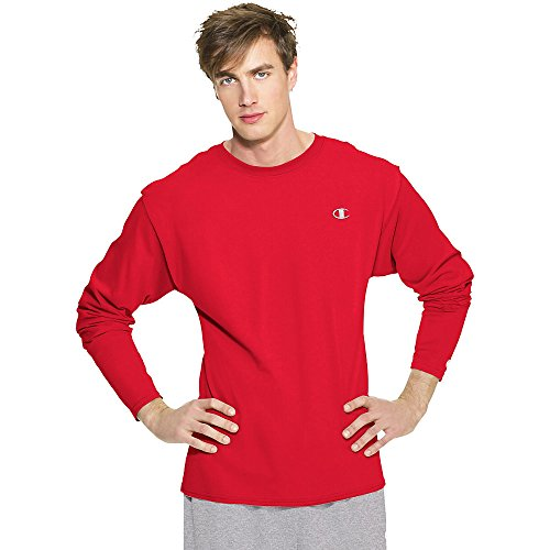 Champion Classic Bra - Champion Men's Jersey Long Sleeve T-Shirt, Crimson, XX-Large
