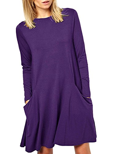 (Zero City Womens Casual Pockets Plain Flowy Simple Swing T-Shirt Loose Dress, 06purple,)